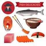 Fish delicacies set royalty free illustration