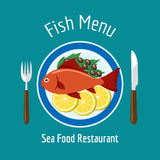 Fish delicious dish healthy eating. Vector illustration Stock Photo