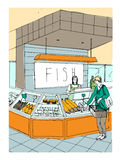 Fish department hand drawn colorful illustration. store interior with shoppers. Royalty Free Stock Images