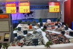 Fish department at hypermarket. Auchan,Bucharest,Romania Royalty Free Stock Image