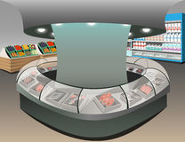 Fish department illustration. Store interior with shoppers Royalty Free Stock Photography