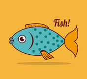 Fish design. Over yellow background, vector illustration Royalty Free Stock Photos