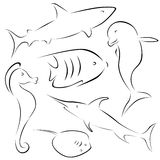 Fish designs. In black and white Royalty Free Stock Image