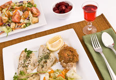 Fish dinner. Plates of baked fish and garden salad with a glass of red wine and strawberry dessert Stock Image