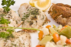 Fish dinner. A plate of baked fish and crab cake with vegetables and lemon Stock Photography