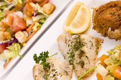 Fish dinner. Plates of baked fish and garden salad Stock Photos