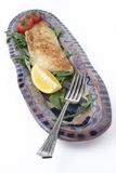Fish dinner on ceramic platter; angled fork Stock Images