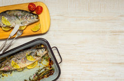 Fish Dinner with Copy Space Royalty Free Stock Photography