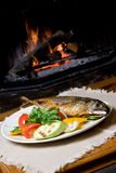 Fish dinner on a plate. A fish dinner on a plate with vegetables in front of a fire Royalty Free Stock Photos