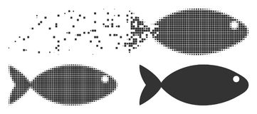Fish Disappearing Pixel Halftone Icon. Dispersed fish dotted icon with disintegration effect. Halftone pixelated and undamaged whole grey versions. Dots have Royalty Free Stock Photo