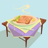 Fish Dish Cartoon Illustration Royalty Free Stock Images