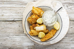 Fish Dish - Cod In Beer Batter With Tar Tar Sauce For A Healthy And Comfortable Diet Stock Photos