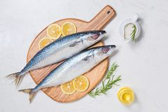 Fish dish cooking with various ingredients. Fresh raw fish decor. Ated with lemon slices and herbs on wooden table Royalty Free Stock Image