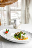 Fish dish - fillet of zander in plate on the table near window Stock Images