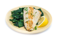 Fish dish -  fish fillet with chard Stock Photos