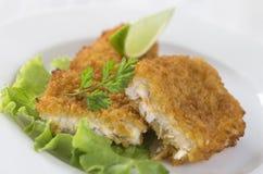 Fish dish -fried cod filet Stock Photos