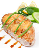 Fish dish - fried fish fillet with vegetables Royalty Free Stock Images