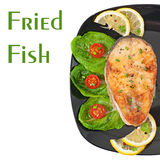 Fish dish - fried fish fillet with vegetables Stock Photos