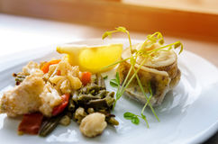 Fish dish. Fried fish fillet of zander served with vegetables. Fried fish fillet of zander served with vegetables Royalty Free Stock Images