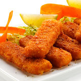 Fried fish fingers Royalty Free Stock Photos