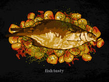Fish dish with a garnish Royalty Free Stock Images