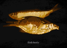 Fish dish with a garnish. Two cooked fish on a dark background, freehand drawing Royalty Free Stock Photos