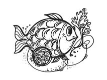 Fish dish with lemon. Hand drawn, cartoon, sketch illustration of fish dish with lemon Stock Photos