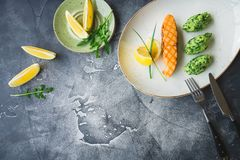 Fish dish made of grilled salmon with lemon slice and puree. Food on gray background with copy space. Fish dish made of grilled salmon with lemon slice and puree royalty free stock images
