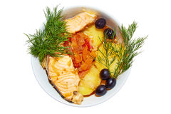 Fish dish with olives and fennel on a white background Royalty Free Stock Photography