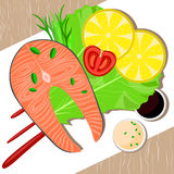 Fish dish on plate. Healthy food. Vector illustration Royalty Free Stock Photo