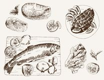 Fish dish. Set of vector sketches Stock Image