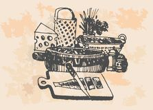 Fish dish  set of vector sketches. Retro  monochrome vector illustration in woodcut style Stock Images