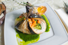 Fish dish stuffed vegetables Royalty Free Stock Photography