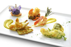 Fish Dish Tasting Prawns Fried  Grilled Braised Tempura Kataifi. In square white plate Stock Images