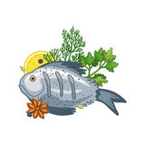 Fish dish vector illustration with spices Stock Photography