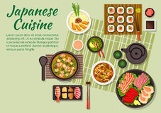 Fish dishes of japanese cuisine. Fresh dinner of japanese cuisine with maki and nigiri sushi, sashimi set with salmon teriyaki, tuna, cuttlefish and scallops Royalty Free Stock Images