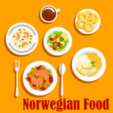 Fish dishes of norwegian cuisine flat icon. Popular fish dishes of norwegian cuisine icon with vegetable stew with salmon, boiled potatoes, served with mashed Royalty Free Stock Photography