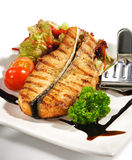 Fish Dishes - Salmon Steak. With Vegetable Royalty Free Stock Photos