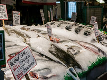 Fish display at Pike Place Public Market, Seattle Stock Photos