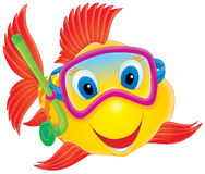Fish diver. Isolated clip-art / funny illustration for your design Royalty Free Stock Image