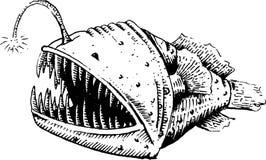 Fish-dog, fish, angler or sea devil. Vector illustration, sketch. EPS 10 Stock Photo
