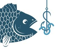 Fish and dollar fishing hook. Illustration of big blue fish biting dollar fishing hook Royalty Free Stock Photos