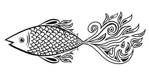 Fish doodle. Illustration ,black and white Stock Photo