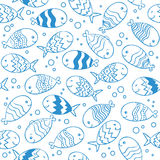 Fish doodle seamless pattern. Royalty Free Stock Photos