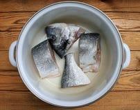 Fish Dorado cooking fish soup Royalty Free Stock Images