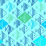Fish drawing by hand in the form of rhombuses. In green and blue colors seamless pattern on a light blue green background Royalty Free Stock Image