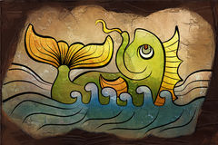 Fish drawing in the stone. Chinese green fish drawing in the stone Stock Photo