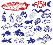 Fish drawings and icons. Illustration on a white background icons and pictures fish and  products Stock Photos