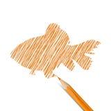 Fish drawn with pencil Stock Photos