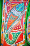 Fish drawn on a truck. Decoration pakistani truck front side backside decorated art artist paint painter flower heart culture wheels auto bedford punjab jingle royalty free stock photography